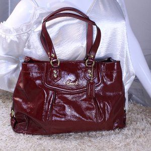 COACH CRIMSON ASHLEY PATENT SHOULDER BAG